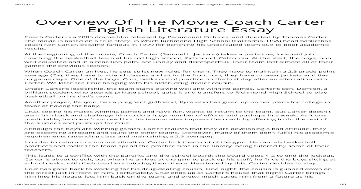 Thesis Statement Essay Example  Apa Format Essay Paper also Example Of A Essay Paper Overview Of The Movie Coach Carter English Literature Essay Best Essay Topics For High School