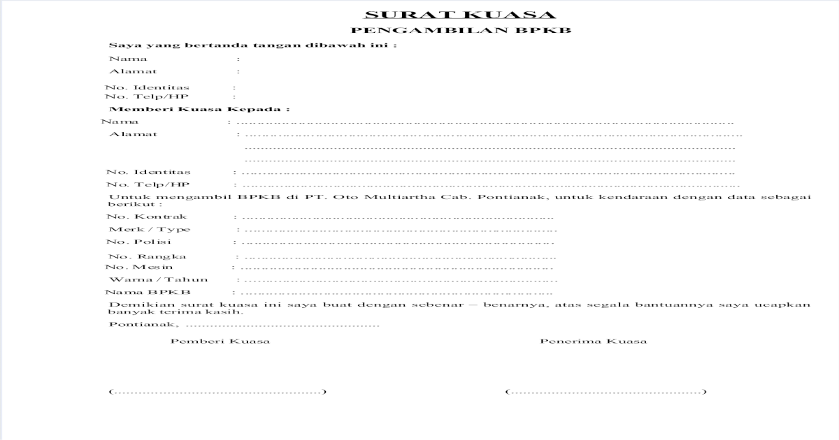 Contoh Surat Kuasa Pengambilan Bpkb Di Oto Finance Doc