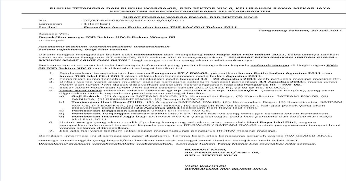 Surat Edaran Rt