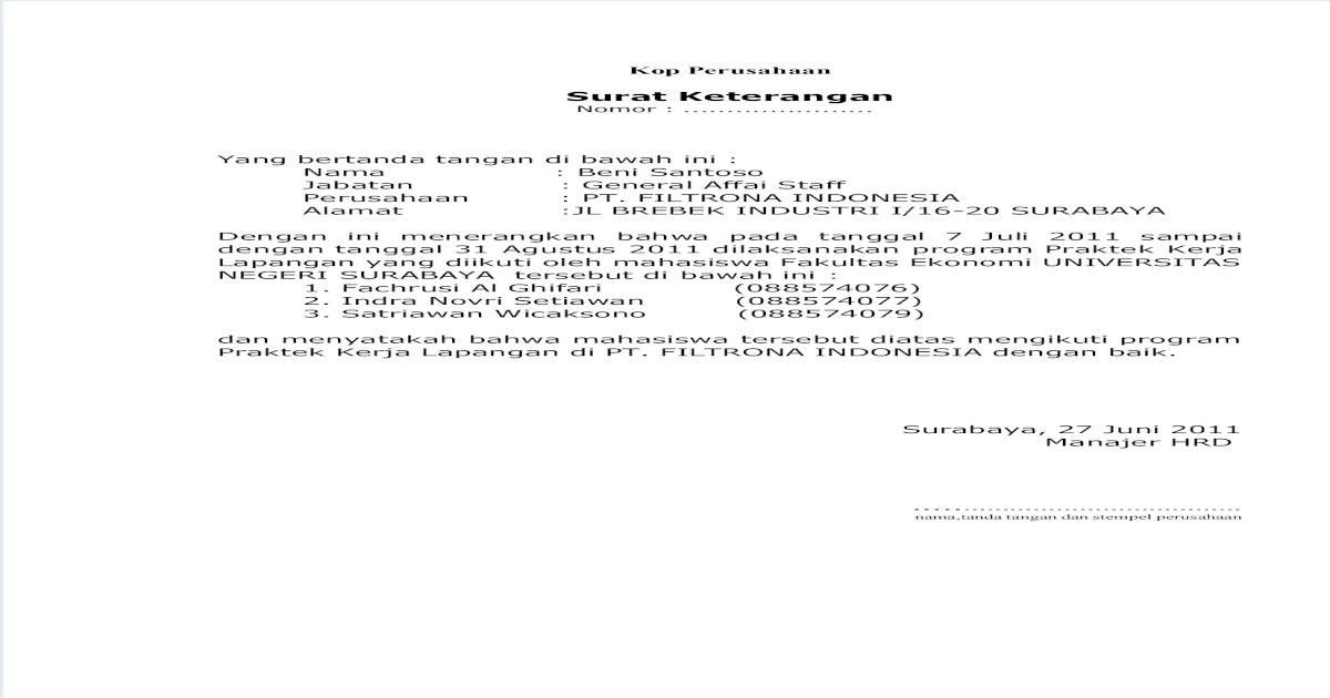 Surat Balasan Pkl Berhasil