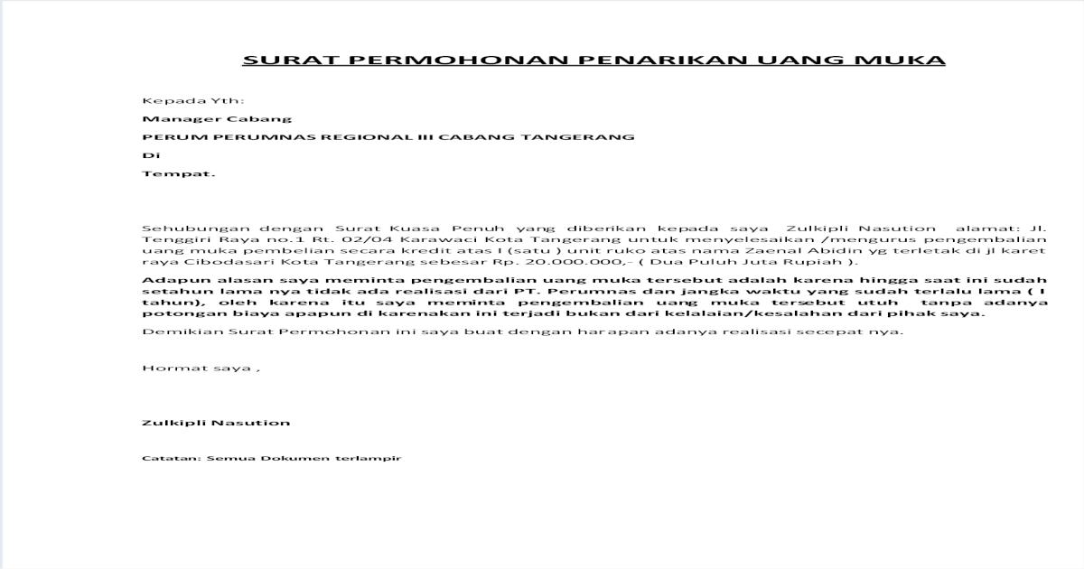 Surat Pernyataan Pengembalian Uang / Top Contoh Surat ...