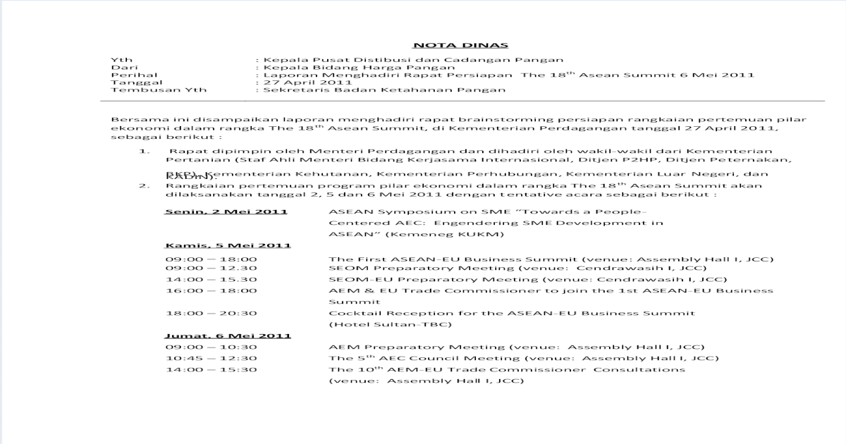 Nota Dinas Laporan Rapat 27042011