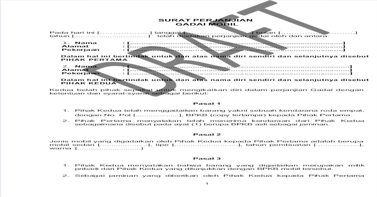 7 Surat Perjanjian Gadai Mobil I