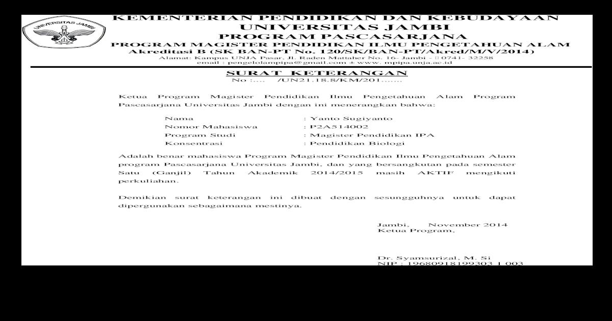 Surat Ketrangan Aktif Dan Khs