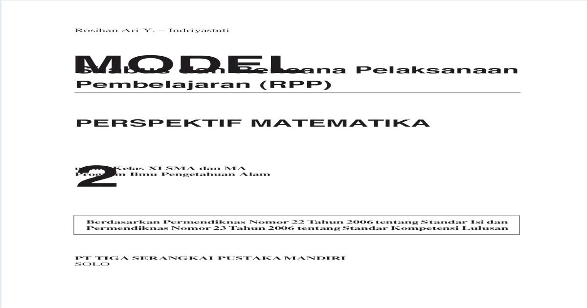 Contoh Rpp Kelas Rangkap Model 333 - Seputar Model