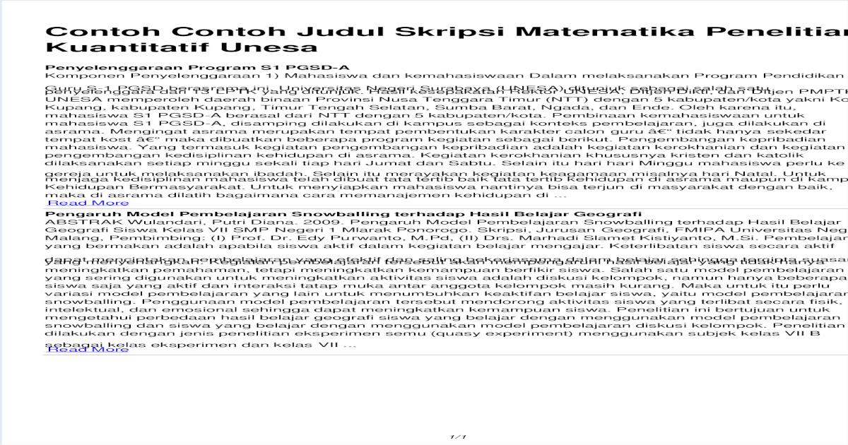Contoh Contoh Judul Skripsi Matematika Penelitian Kuantitatif Unesa