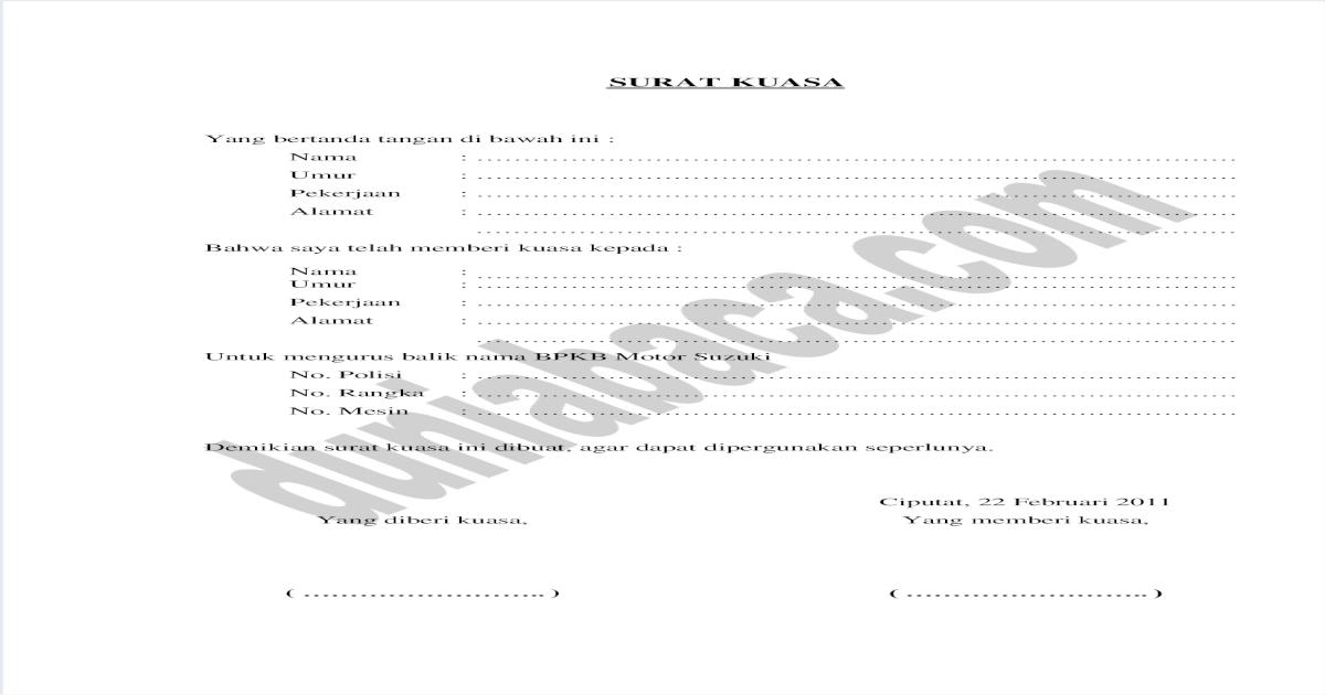 Contoh Surat Kuasa Balik Nama Bpkb Motor - riskyobama