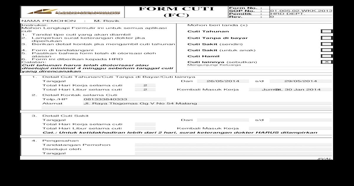 01 005 02 Sop Cuti Karyawan Form Cuti