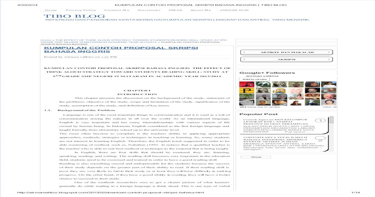 Kumpulan Contoh Proposal Skripsi Bahasa Inggris Tibo Blog