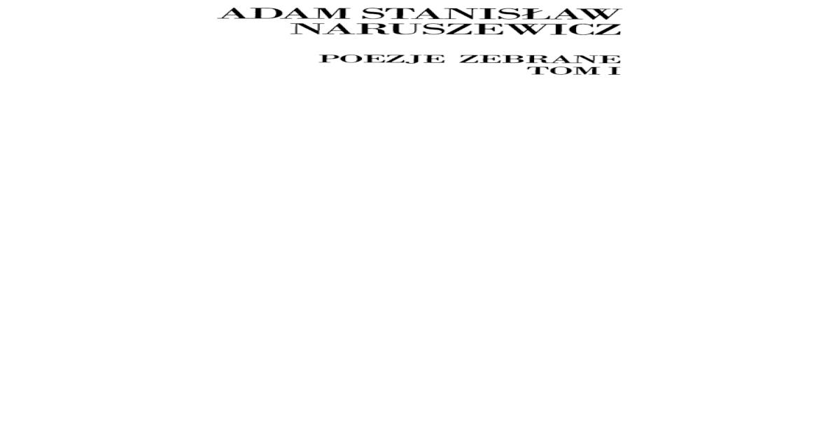 Adam Stanisaw Naruszewicz