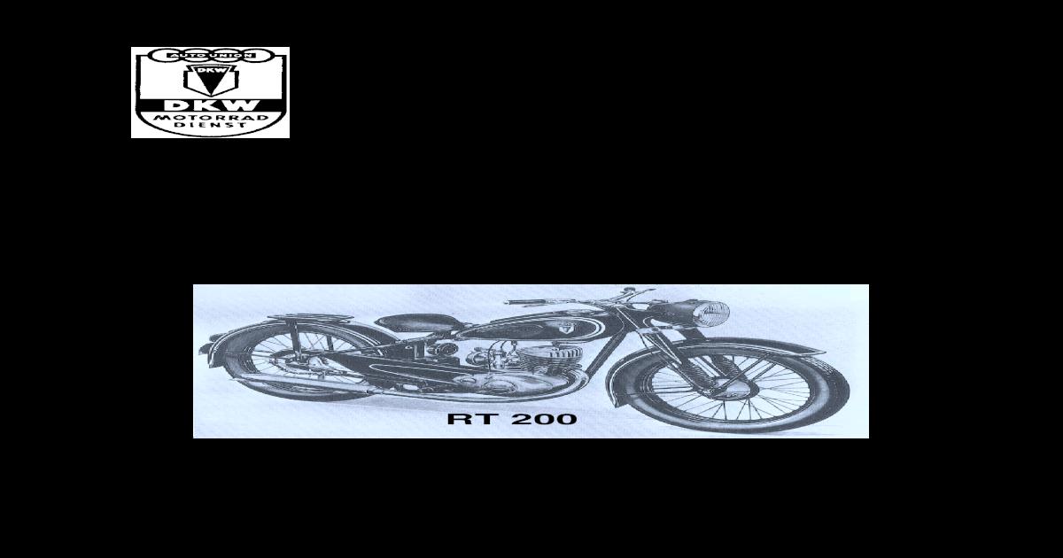 DKW RT 175 S//VS 250VS Bedienungsanleitung Betriebsanleitung Handbuch 200 S//VS