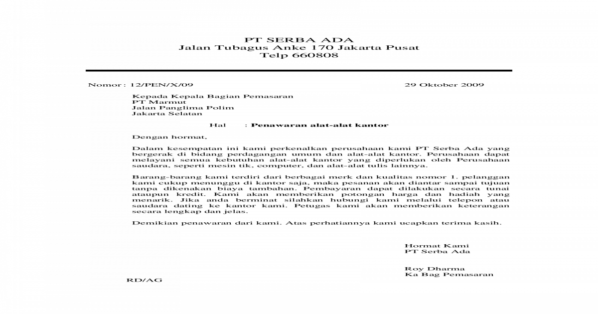 Bentuk Surat Block