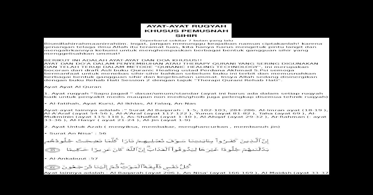 Ayat Ayat Ruqyah Khusus Pemusnah Ruqyah Khusus Pemusnah