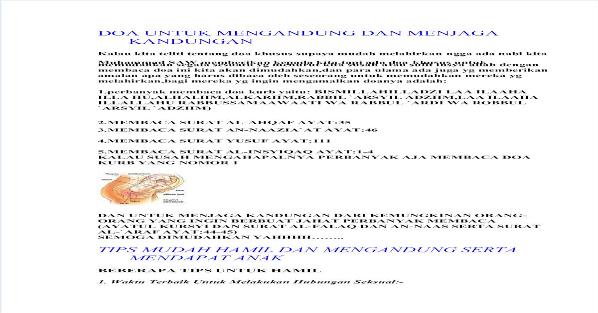 Info Doa Untuk Mengandung Dan Menjaga Kandungan
