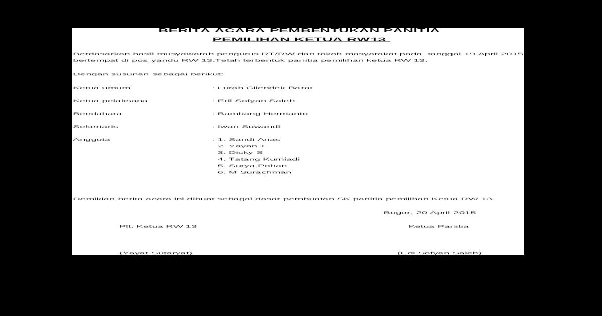 Contoh Proposal Pemilihan Rw