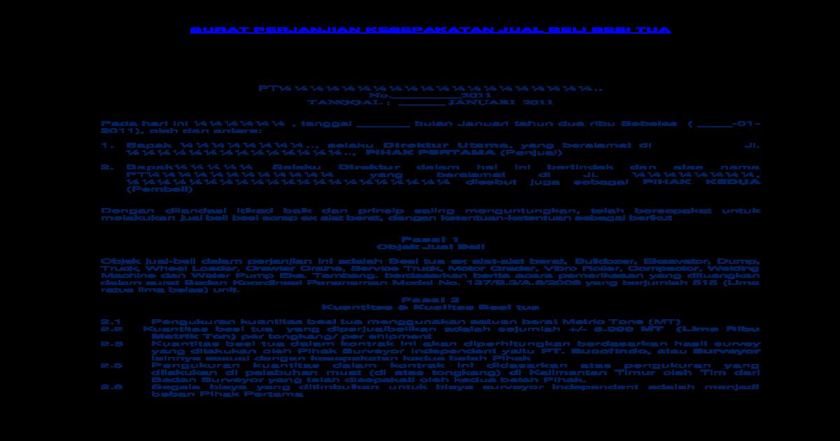 Contoh Surat Jual Beli Besi Tua Kapal Tongkang