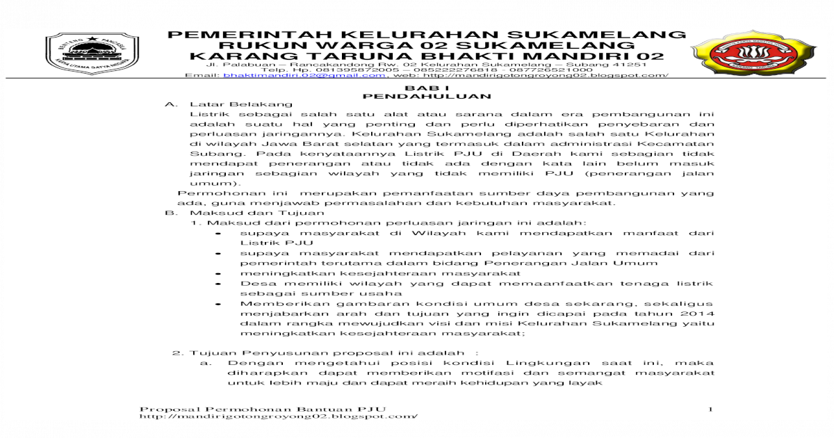Contoh Proposal Pengajuan Penerangan Jalan Umum - Barisan ...