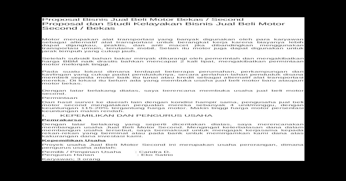 Proposal Bisnis Jual Beli Motor Bekas