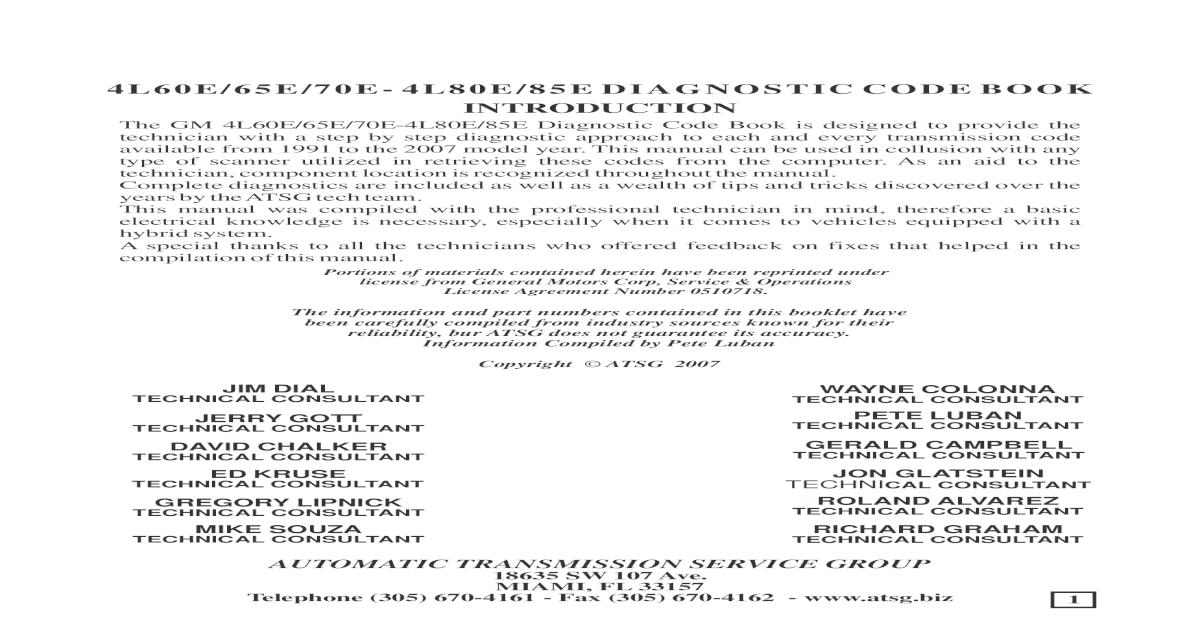 4l60e 80e Code Book
