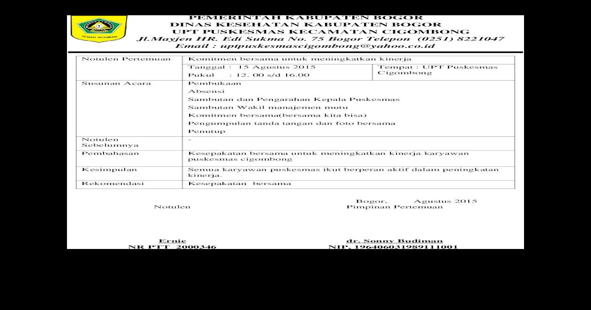 6111 Bukti Komitmen Meningkatkan Kinerja Notulen Daftar Hadir