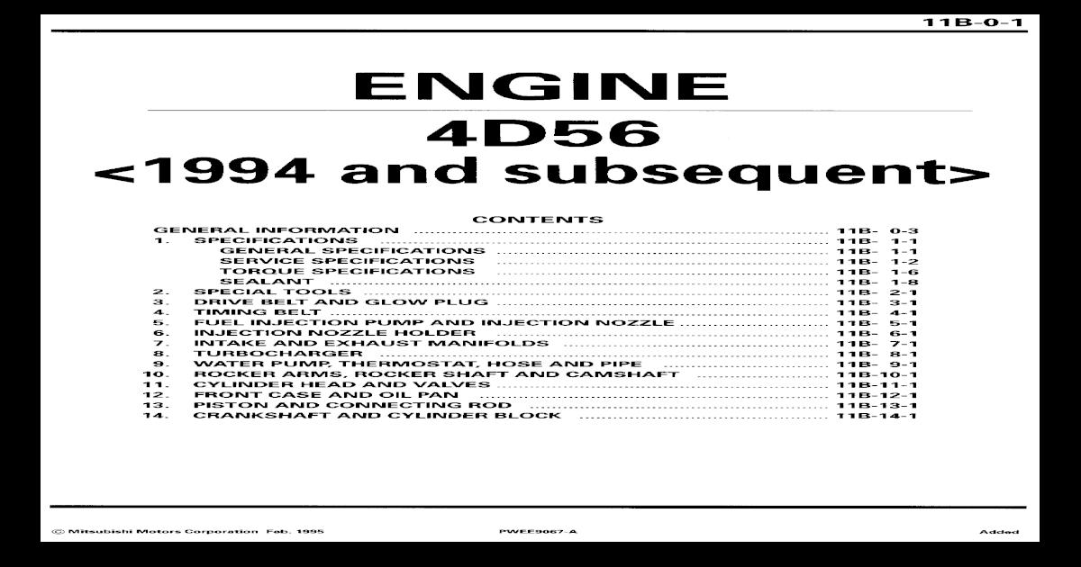 Mitsubishi Triton 4d56 Valve Clearance Specs