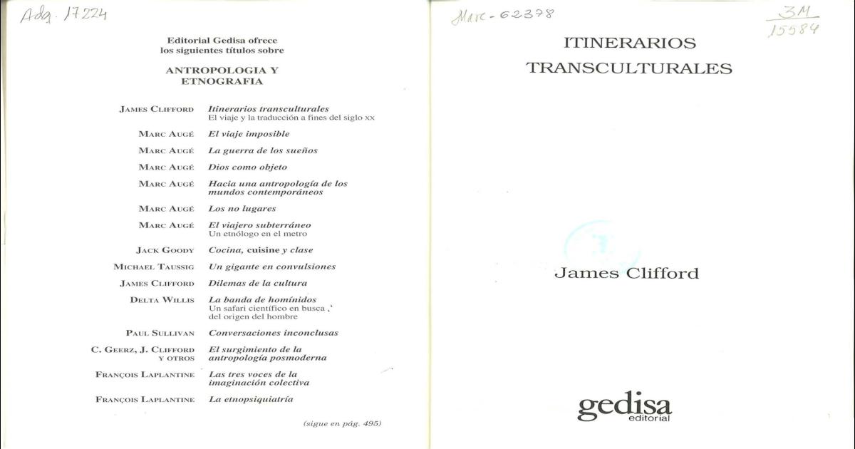 59ff83cc25ec James Clifford - Itinerarios Transculturales