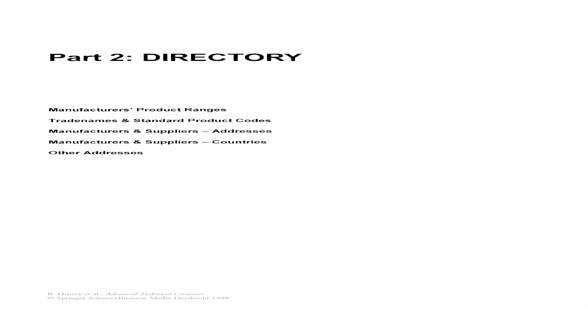 Advanced Technical Ceramics Directory and Databook || Directory