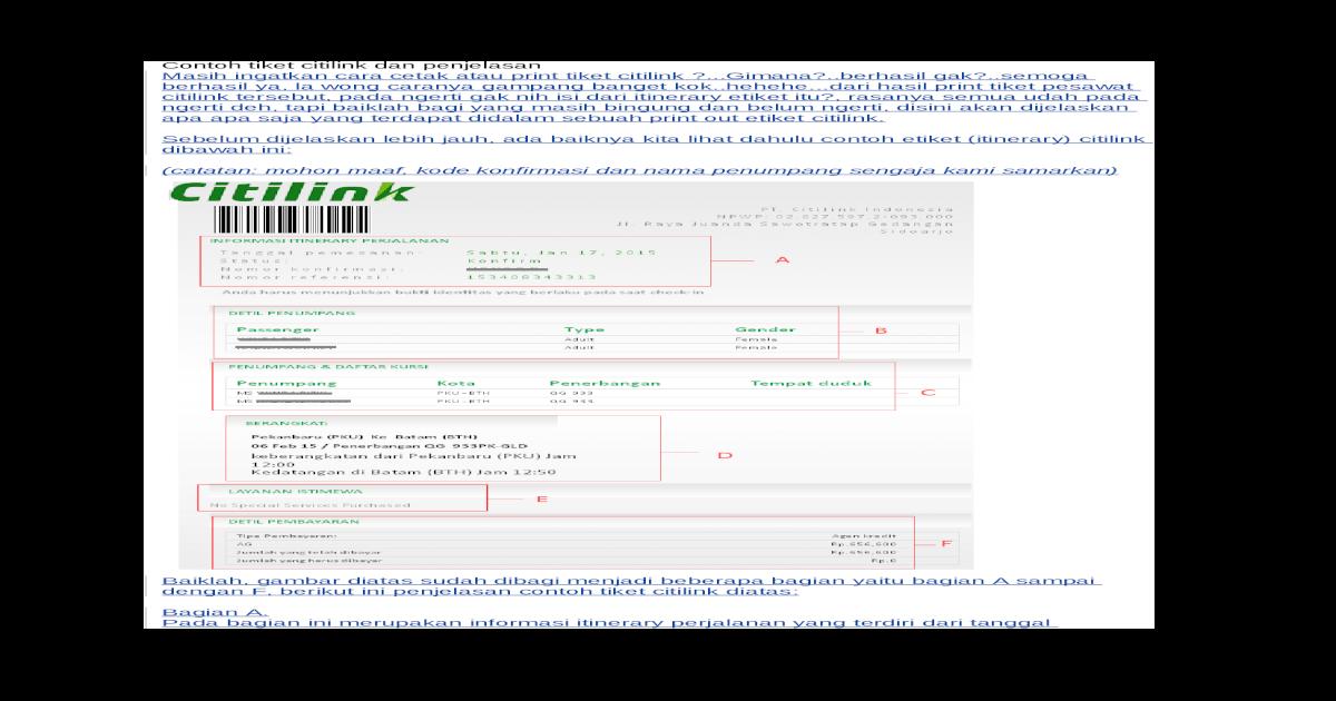 Contoh Tiket Citilink Dan Penjelasan