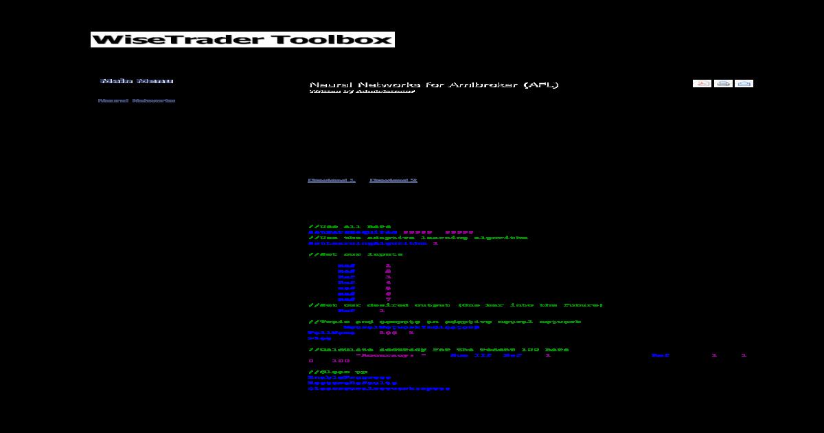 Neural Networks for Amibroker (AFL)