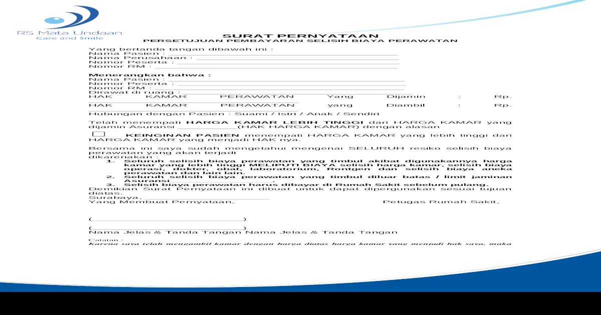 Surat Pernyataan Pasien Naik Kelas 1doc