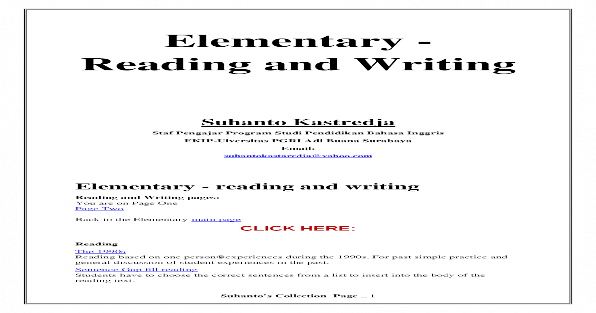 Reading And Writing Practice For Elementary Level A collection of english esl worksheets for home learning, online practice, distance learning and english classes to teach about reading, reading. writing practice for elementary level