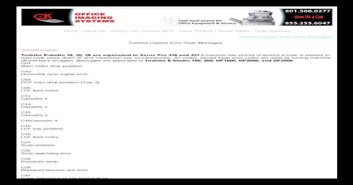 Toshiba e 181 Copiers Error Code Messages