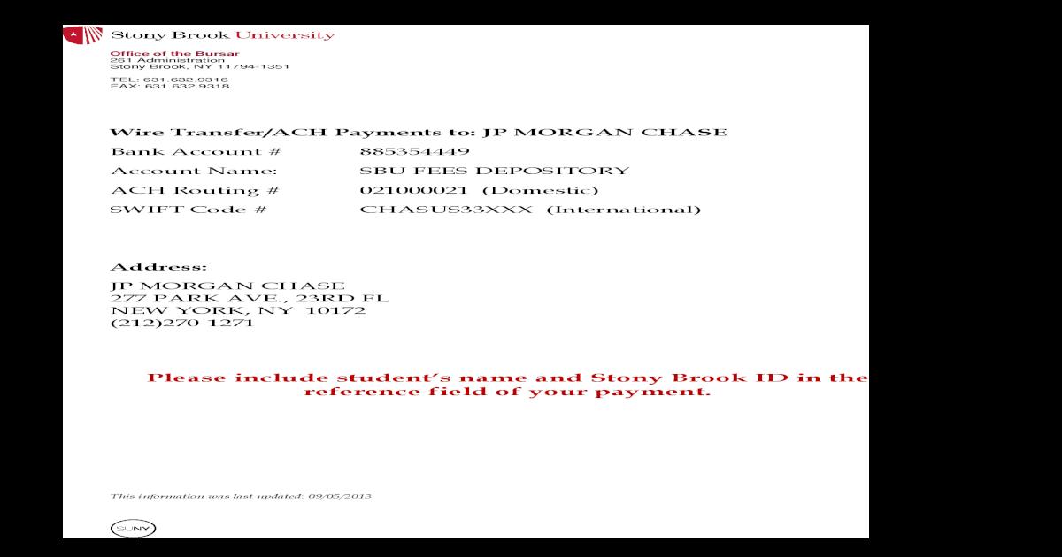 SBU Wire Transfer Information