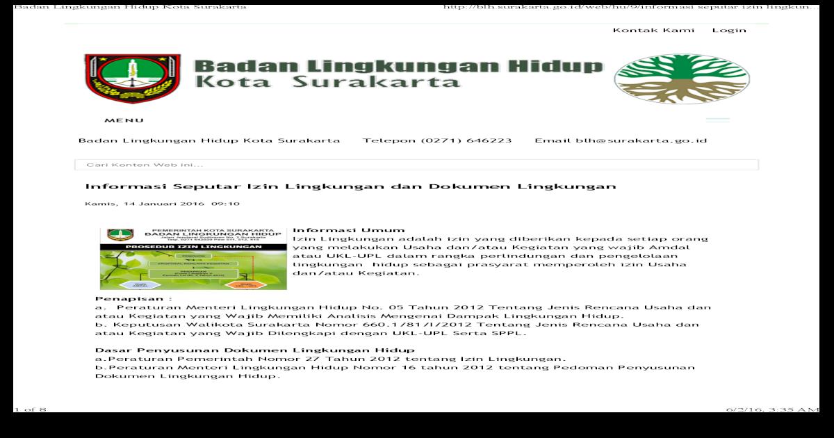Surat Permohonan Arahan Dokumen Lingkungan Hidup | Contoh ...