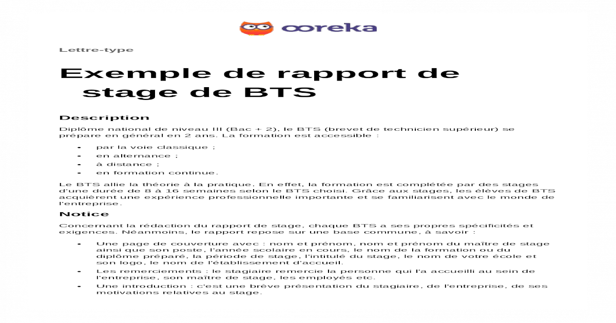 Ooreka Exemple Rapport Stage Bts