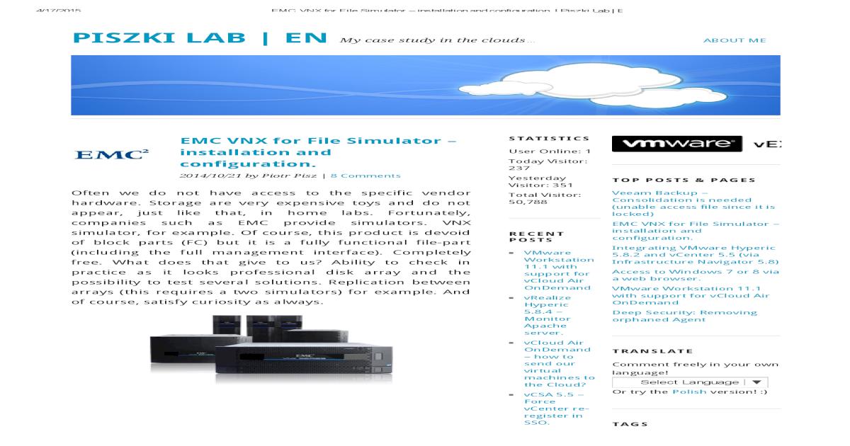 EMC VNX for File Simulator installation and configuration pdf