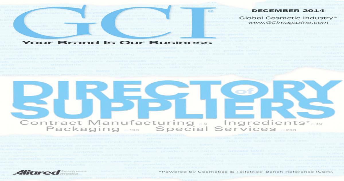 Global Cosmetic Industry, GCI December
