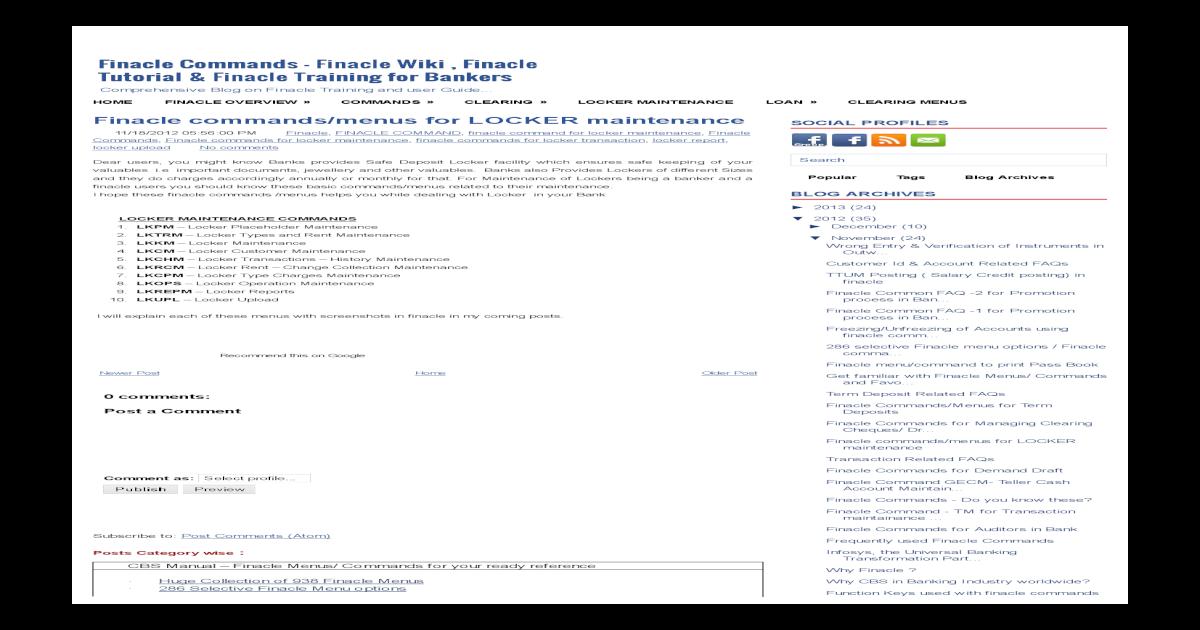 Menus for LOCKER Maintenance ~ Finacle Commands - Finacle Wiki