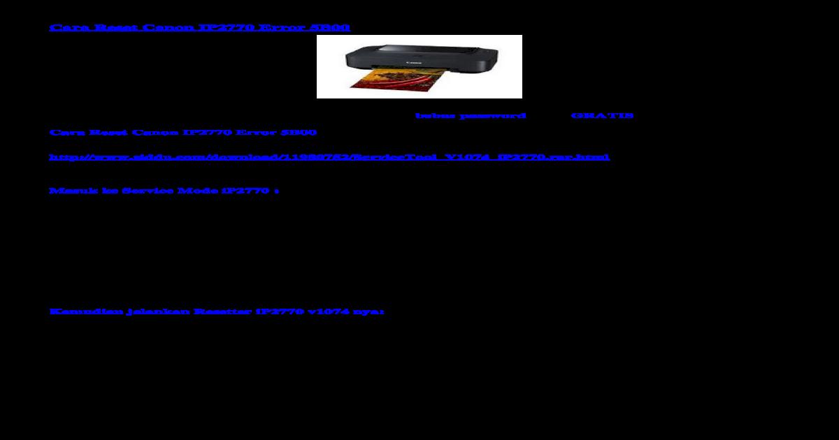 Cara Reset Canon IP2770 Error 5B01