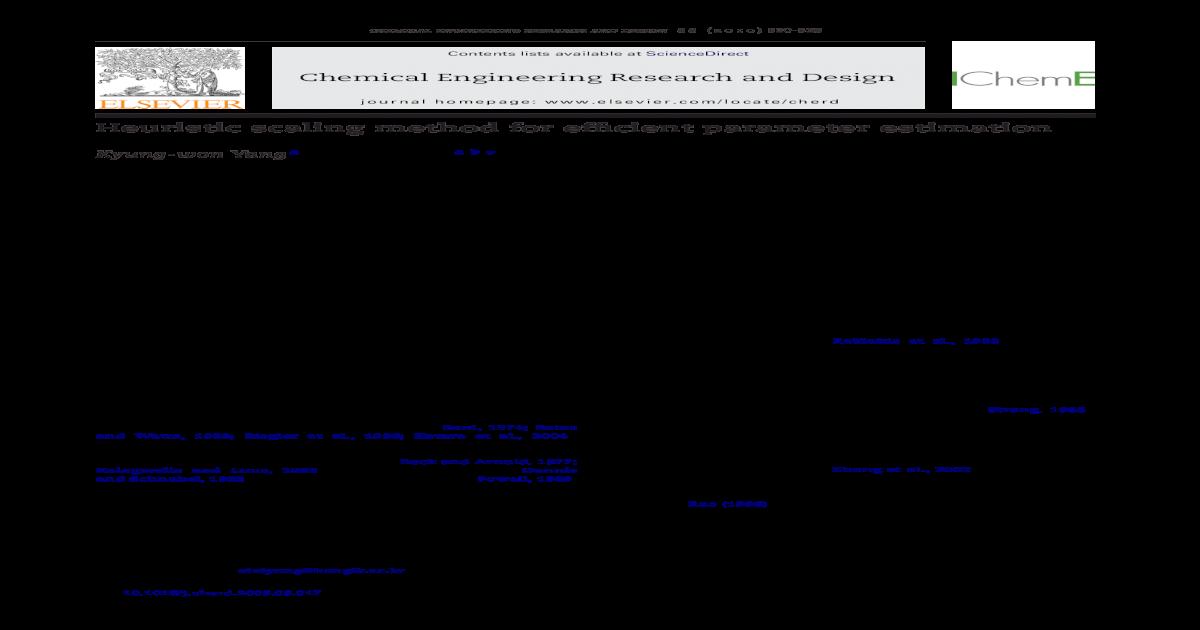 Heuristic Scaling Method For Efficient Parameter Estimation