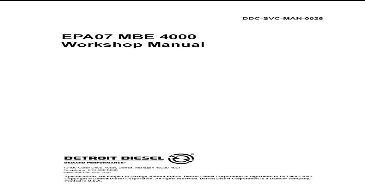 Mercedes MBE4000 workshop manual