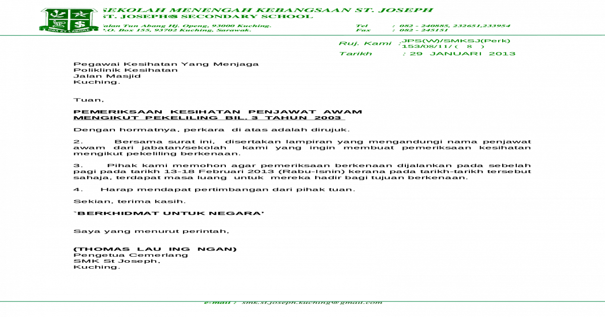 Surat Permohonan Pemeriksaan Kesihatan