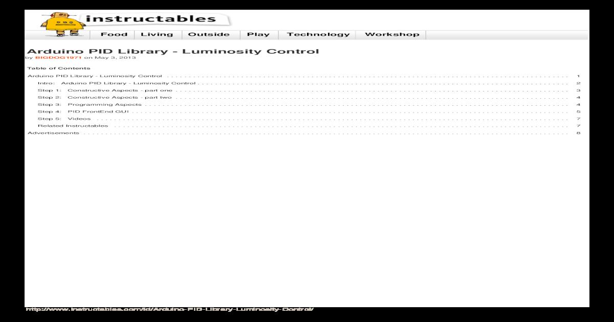 Arduino PID Library Luminosity Control