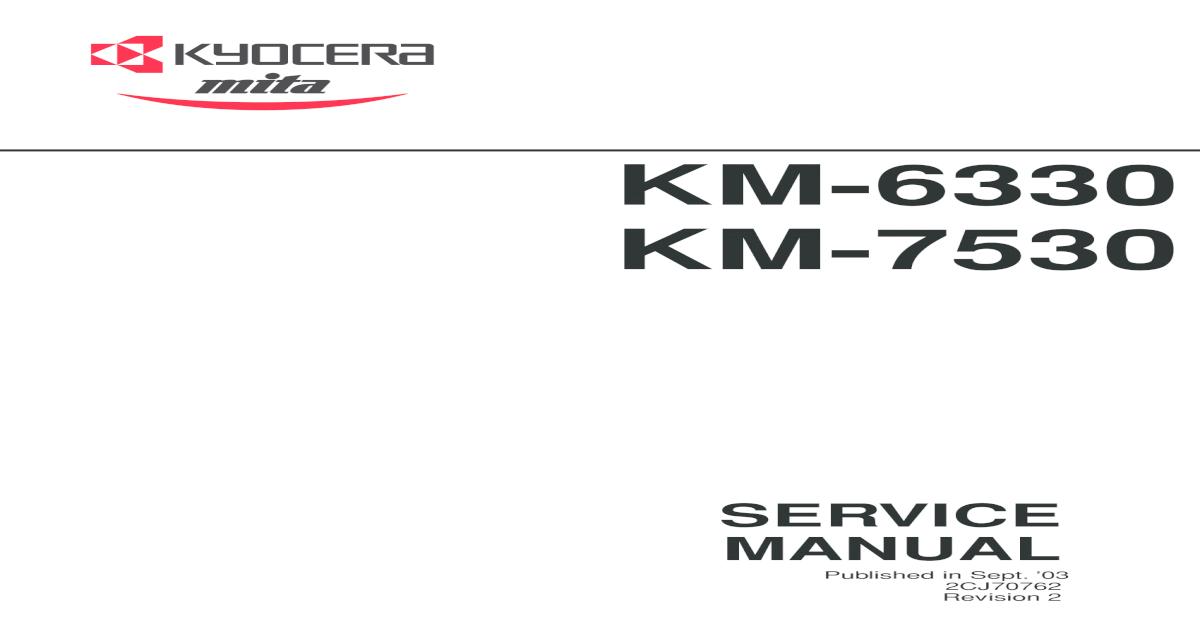 Kyocera Mita KM 6330 7530 Service Manual