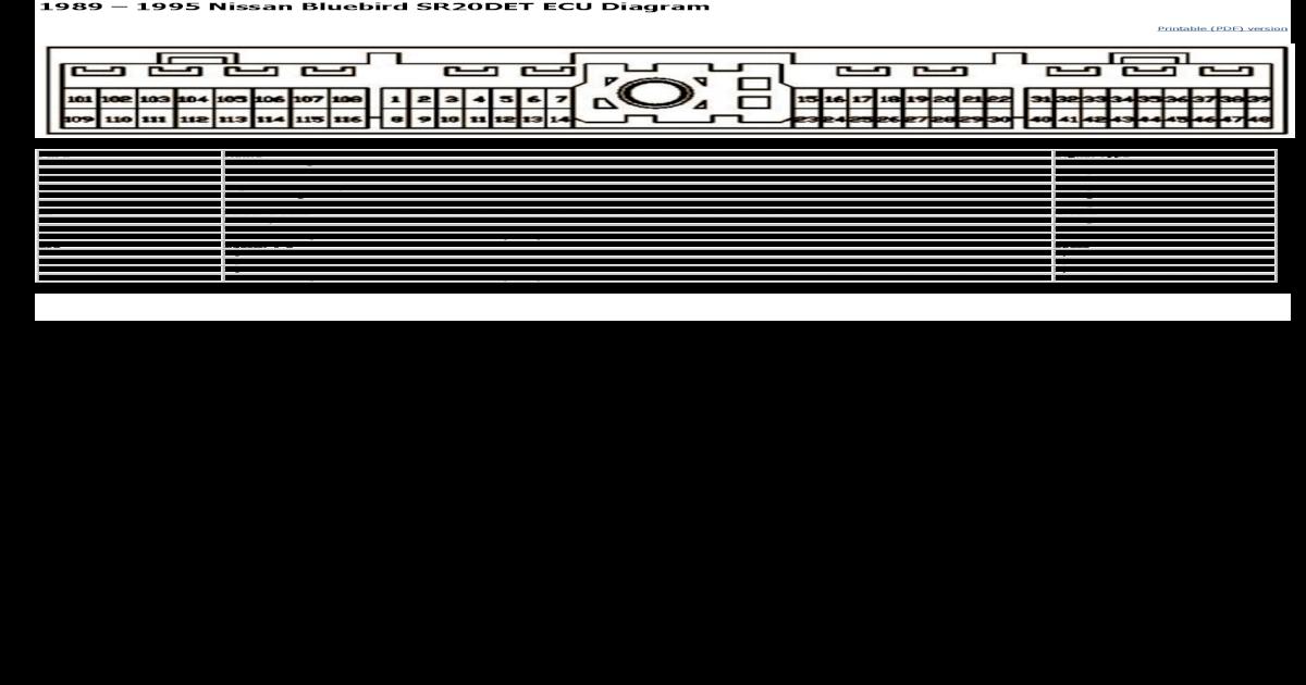 Nissan Bluebird SR20DET ECU Diagram