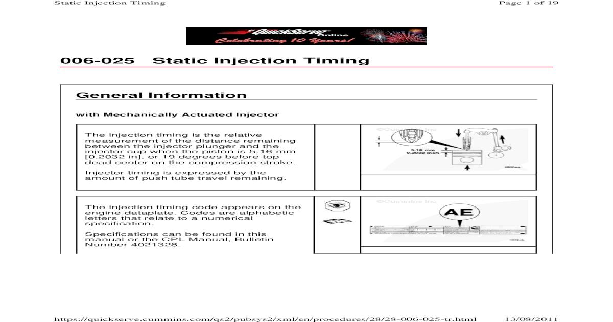 Cummins Static Injector Timing