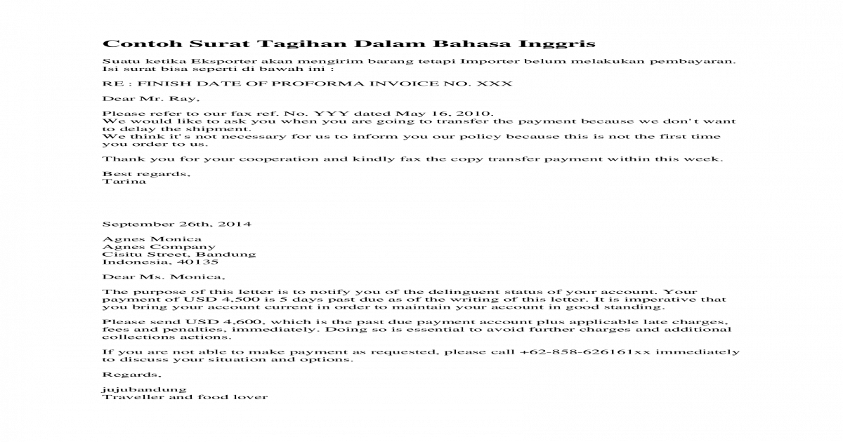 Contoh Surat Tagihan Dalam Bahasadoc