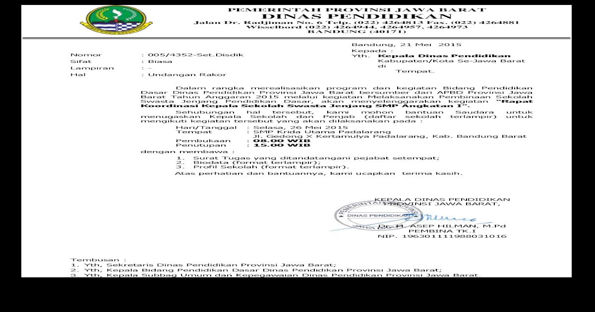 Surat Undangan Rakor Sklhswasta