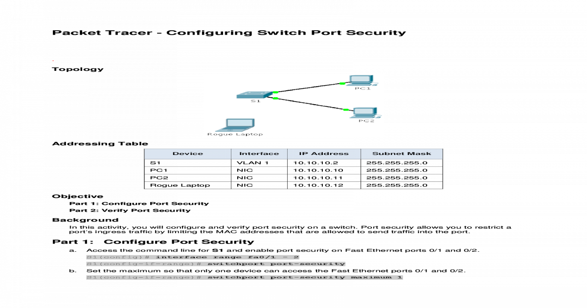 RS_SN-2 2 4 9 Packet Tracer - Configuring Switch Port