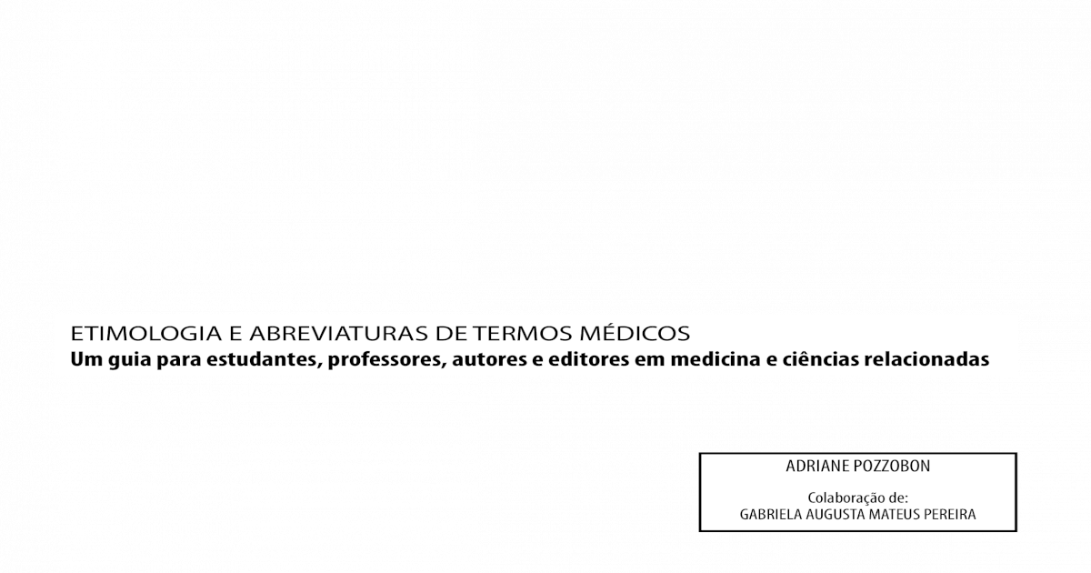 703bd3dd2cbc Etimologia e Abreviatura de Termos Medicos